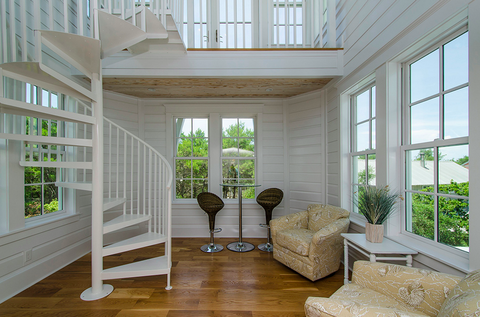 Staircase that leads to the sunroom/deck