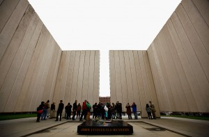 DALLAS, TX - NOVEMBER 22:  People visit the John F. Kennedy Memorial Plaza on November 22, 2013 in Dallas, Texas. Visitors streamed through the memorial on the 50th anniversary of the assassination of U.S. President John F. Kennedy as he rode in a Presidential motorcade in Dealey Plaza.  (Photo by Tom Pennington/Getty Images) ORG XMIT: 451684237